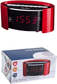 Radio reloj despertador radio con doble alarma radio despertador Repetición Snooze (Función de suspensión, 2alarmas, pantalla LED, señal acústica, función de recordatorio, Rojo)