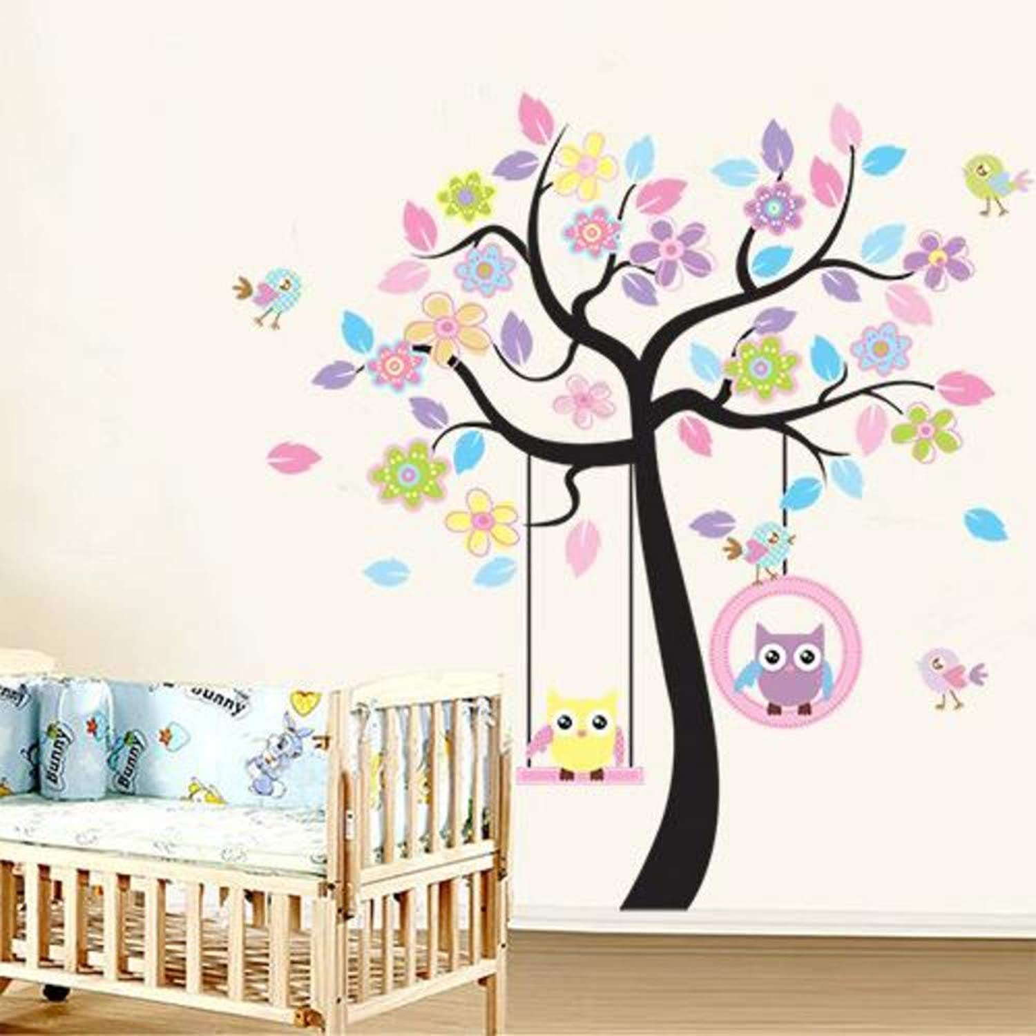 Zffmss 3D Vinyl Wall Stickers 2Pcs Set colorful Tree And Owls Home Decor Giant Wall Decals For Kids Rooms 60X90Cm
