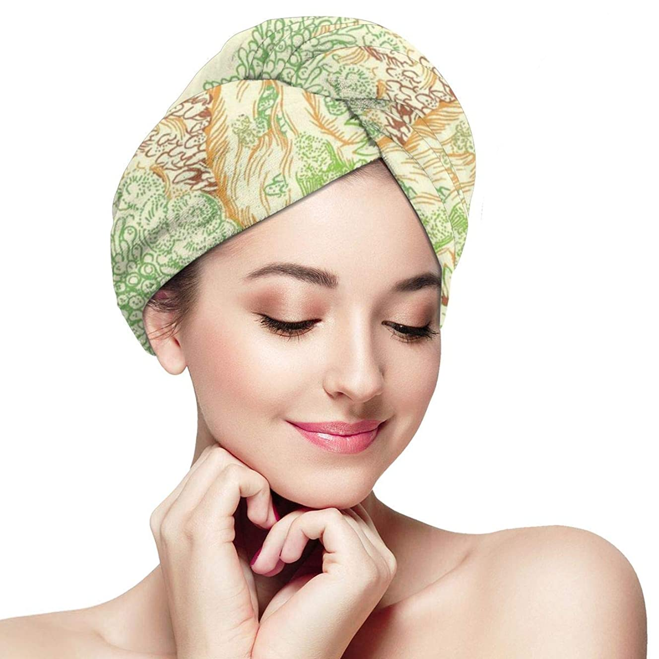 染料藤色有効な藻ナマケモノマイクロファイバーヘアタオルターバンラップ-アンチ縮れ吸収&ソフトシャワーヘッドタオル、クイックドライヤー帽子、女性のためのお風呂ラップキャップママ娘