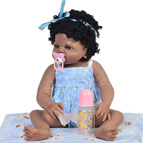 Reborn Babypuppen, Lebensechtes 23 '' Reborn mädchen Schwarz Prinzessin Spielzeug Volle Silikon   Ethnische Puppen Reborn Baby Curved Hair Sch  5cm Kinder Playmates, braune Augen