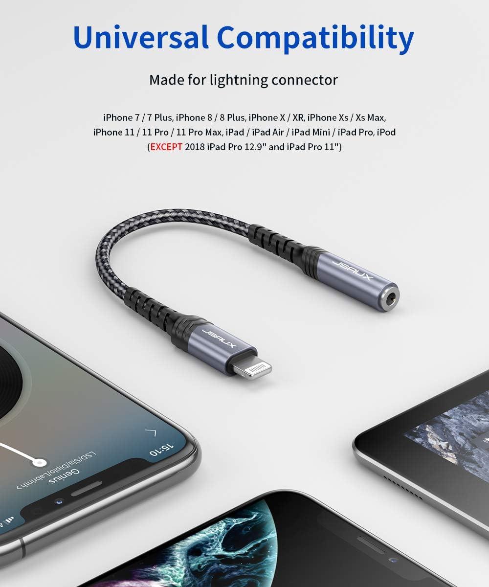 MFI JSAUX Adaptador de Lightning a Jack 3,5mm iPhone Adaptador Jack Auriculares Divisor para iPhone 12//12Pro//11//11 Pro//X MAX//XR//XS//X// 8 Plus// 8//7// 6// 5C// 5S a Altavoces Audio de Coche-Plata