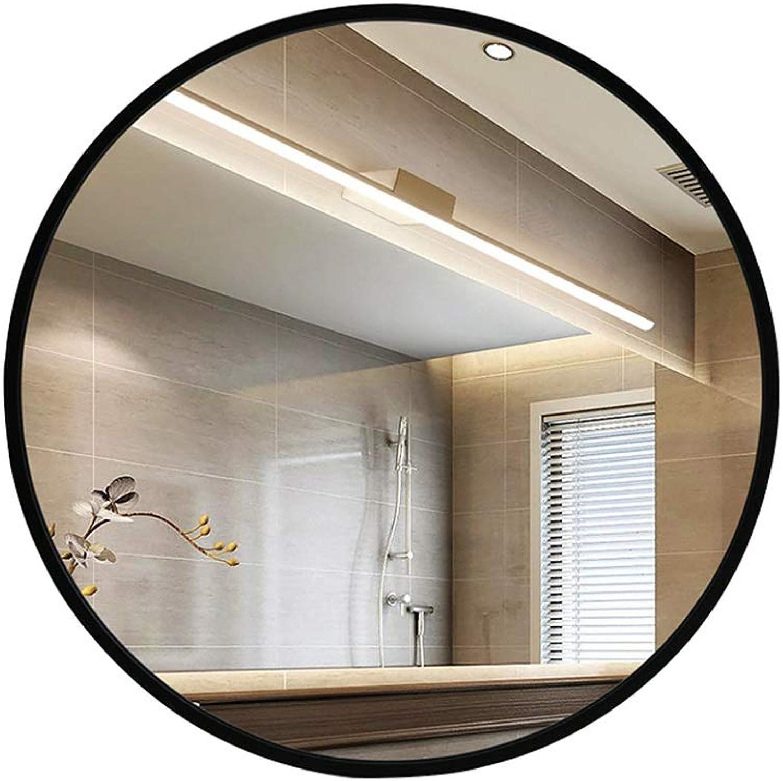 Indoor Decorations Bathroom Mirror- Wall-Mounted Vanity Mirror- Round Mirror-Vanity Mirror Decorative Wall Mirror for Bedroom Bathroom Hotel  (color   Black, Size   50CM)