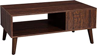 VASAGLE Retro Coffee Table, Cocktail Table, Mid-Century Modern Accent Table with Storage Shelf for Living Room, Reception, Easy Assembly, Walnut Color ULCT09BY