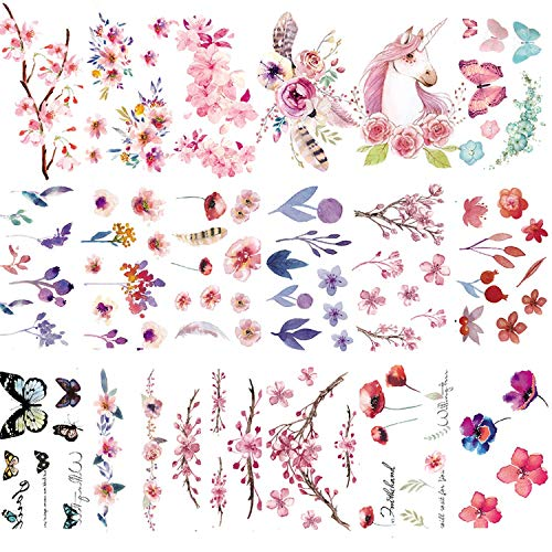 30 Sheets Watercolor Flowers Temporary Tattoos Stickers for Women Girls and Kids (A)