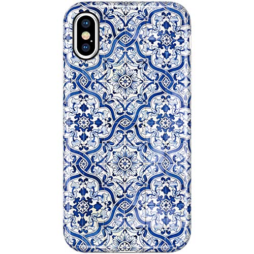 VIVIBIN iPhone Xs Max Cases,Cute Blue Flower Florals for Women Girls Clear Bumper Soft Silicone Rubber TPU Best Protective Cover Slim Fit Phone Case for iPhone Xs Max