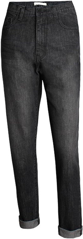 OUXIANGJU Women Black High Waist Boyfriend Denim Pants Female Calca Jeans