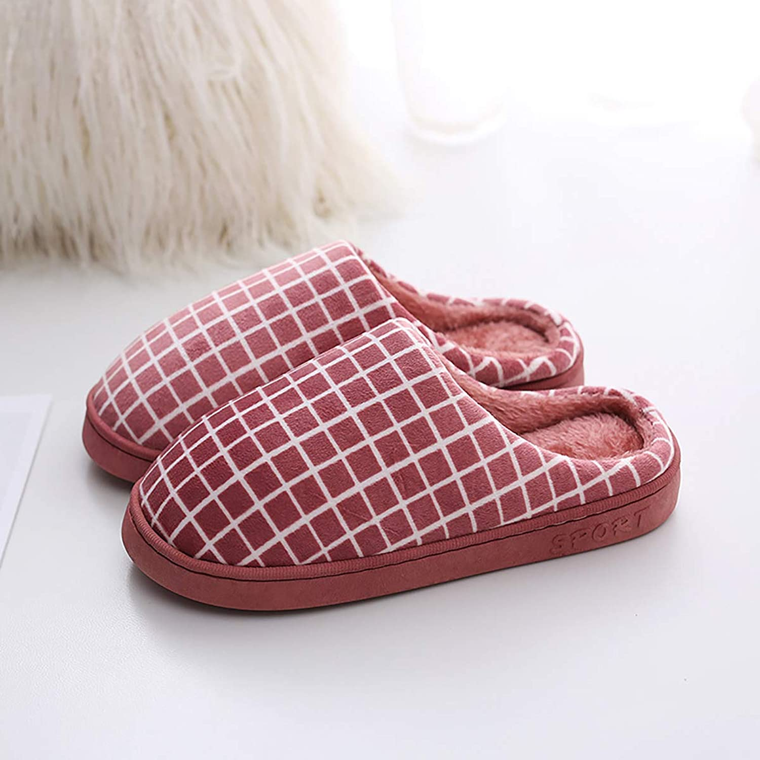 Coral Velvet PU Leather Slippers Indoor Non-Slip Warm Cotton shoes Half-Pack Heel with Plaid Home shoes for Men and Women,Red,38 39