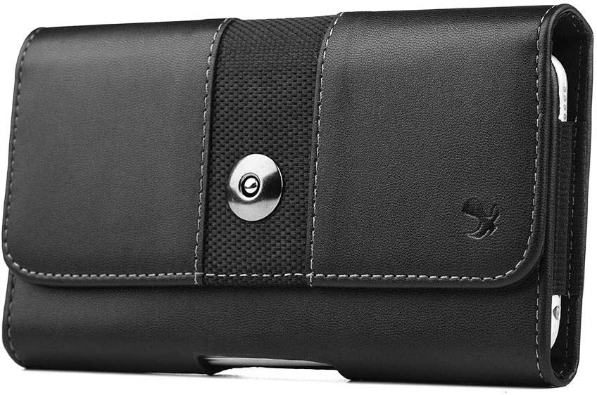Luxmo Traveler Pouch for AT&T Maestro Max Belt Holster (PU Leather Belt Holster Phone Holder Clip Case) with Keychain Tool - Black
