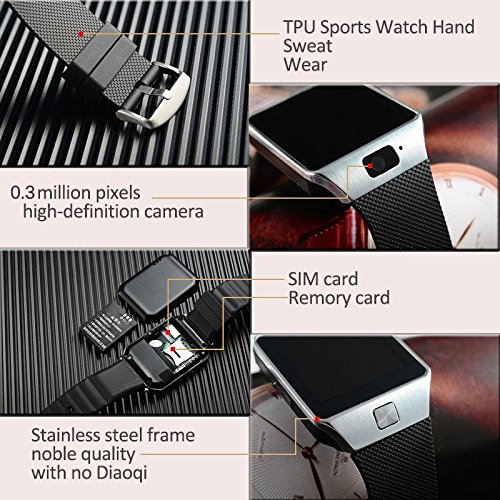Bluetooth Smart Watch Phone Mate GSM SIM For Android iPhone Samsung HTC LG (Black)