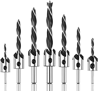 Punta da trapano svasatore,BETOY 7 Pezzi Hex Countersink Drill Bits Set set di punte per trapano per legno Con Una Chiave ...