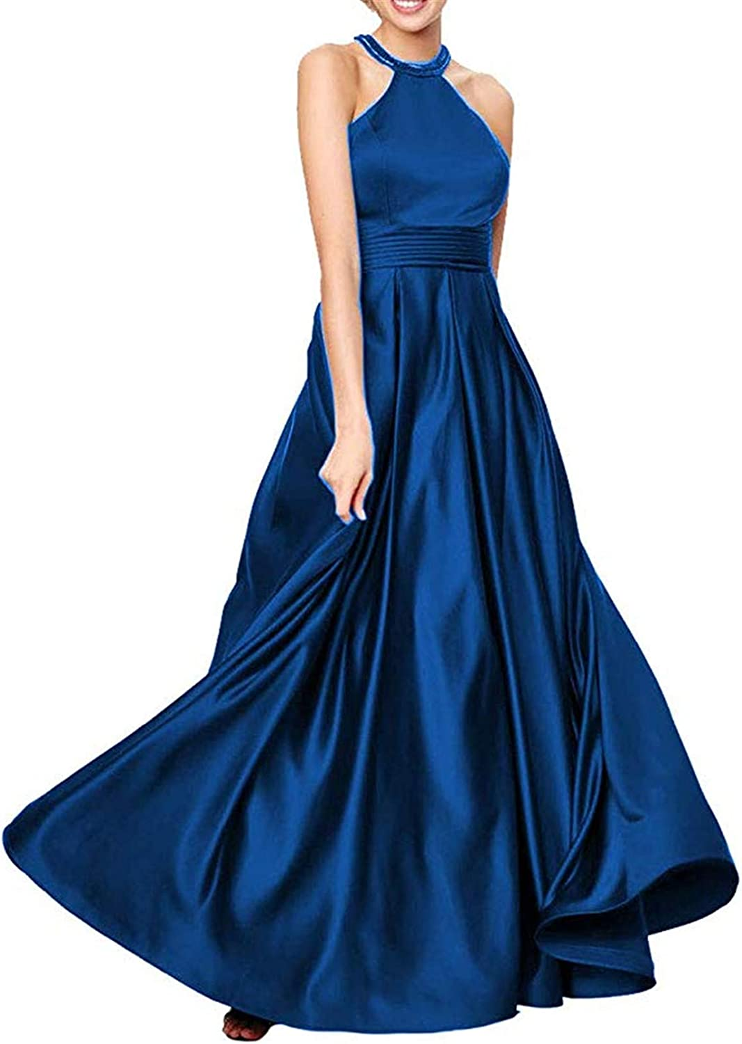 Falydal Women's A Line Formal Party Gowns Long Halter Prom Dress with Pockets