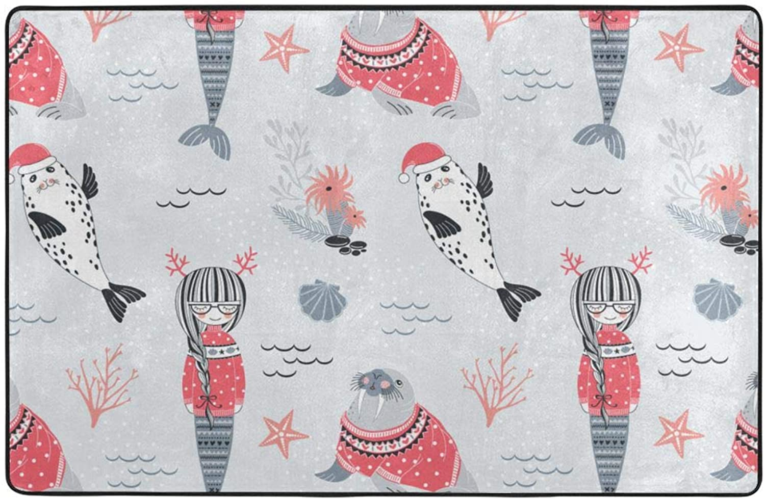 Whimsical Christmas Scraper for Front Door Entrance Outside Doormat Patio Rug Mud Trapper Washable Carpet 60 X 39 Inch