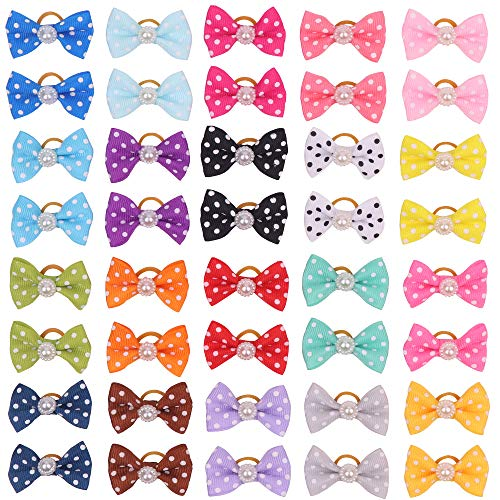 YAKA 40pcs/(20pairs) Hot Cute Small Dog Hair Bows Topknot Small Bowknot with Rubber Bands Pet Grooming Products Pet Hair Bows Hair Accessories 20 Colors (Dots Bowknot) Review