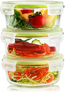 6 Pieces Glass Food Storage Container Set 32oz(3 containers +3 lids) with Snap Locking Lid,Airtight,Microwave,Oven,Freezer,Dishwasher Safe,BPA-Free(Round)