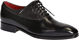 Leonardo Shoes Francesine in Pelle Nera con Punta Traforata Fatte a Mano