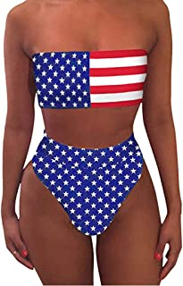 Hopeg Women's hot Print Push-Up Padded Bra Beach Bikini Set Swimsuit Beachwear Swimwear, American Flag Camo T Shirt Vacation Commemoration Day