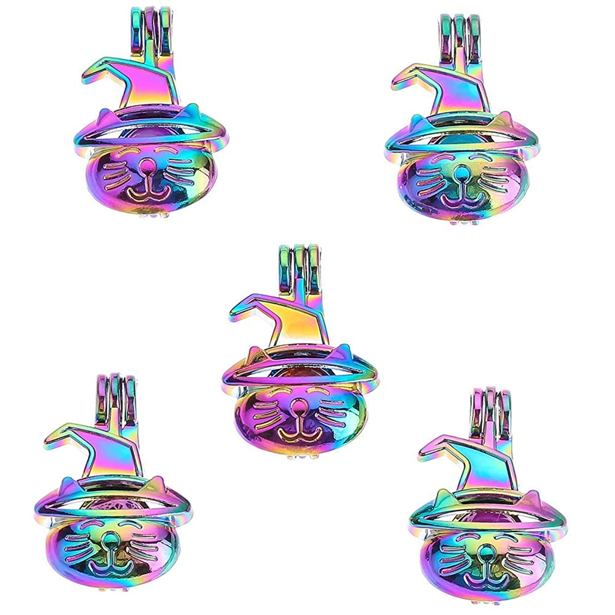 10pcs DIY Pearl Cage Rainbow Color Beads Cage Locket Pendant Jewelry Making Supplies-for Oyster Pearls, Essential Oil Diffuser, Fun Gifts.
