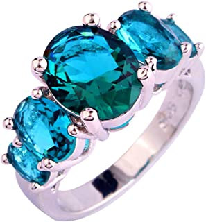 925 Sterling Silver Created Blue Topaz Filled 5 Stone Engagement Ring Band