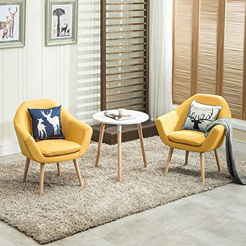Best Magshion Set of 2 Upholstered Fabric Club Chairs W/ 2 Free Pillows Yellow, Small