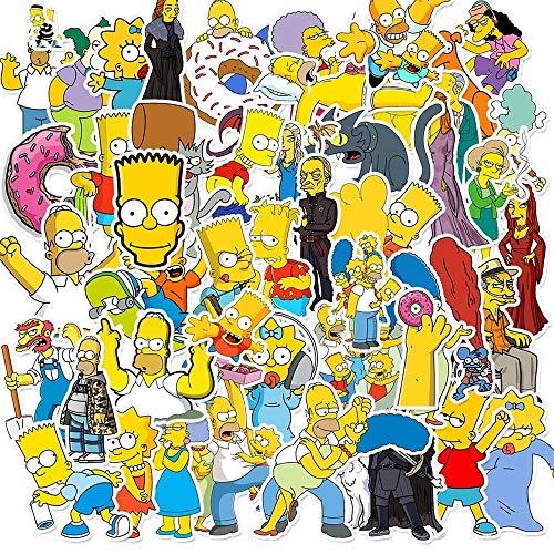 XIAMU Simpsons Pegatinas de Dibujos Animados Europeos y Americanos teléfono móvil Equipaje monopatín portátil Pegatinas Impermeables 50 Piezas