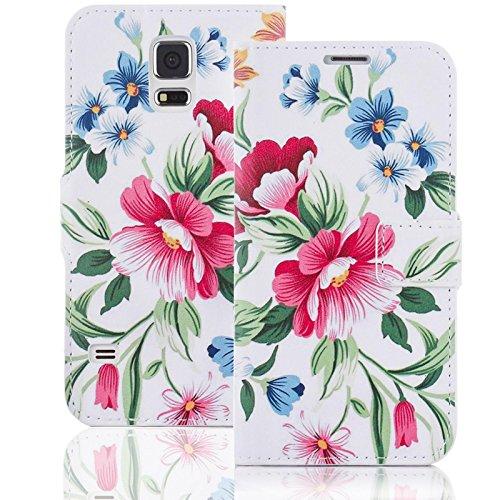 numerva Handyhülle kompatibel mit HTC Desire 500 Hülle [Flower Muster] Case HTC Desire 500 Handytasche