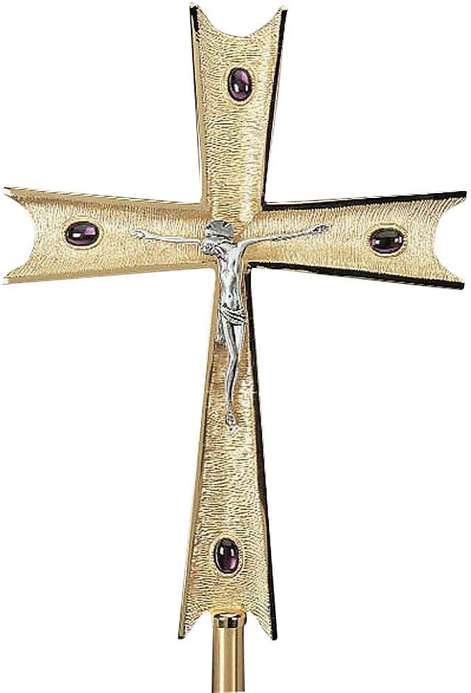 Super intense SALE Holyart Cross in Gold-Plated Purple Crystals Brass Max 76% OFF with