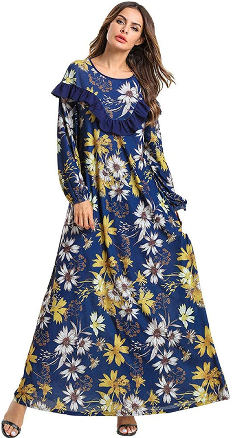 XIAOPANGHAI Spring Summer Round Neck Floral Printed Maxi Dress Women Loose Ruffle Long Sleeve Muslim Beach Dress Plus Size