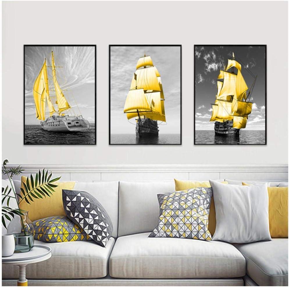 TUOJIEFA Nordic Poster Black famous White Golden Boat Excellent Canvas Sea Prints