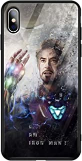 Marvel's The Avengers iPhone7 / 8 Cell iPhone case, iPhone7plus / 8plus Shell, iPhone X iPhone case, Silicone Frame + Tempered Glass Phone Cover (2, iPhone Xs Max)