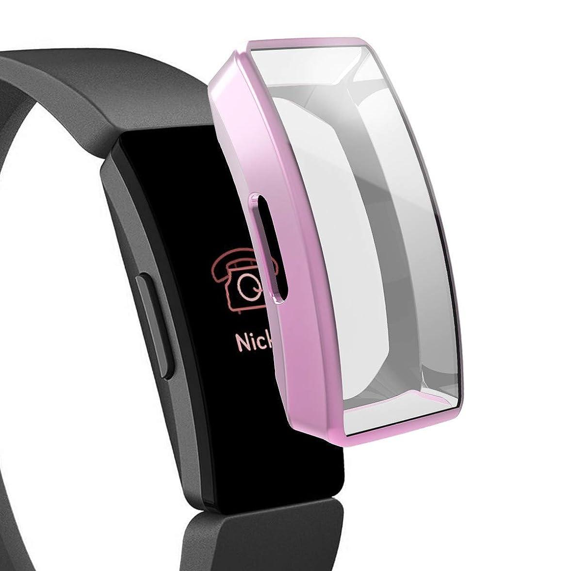 有名実用的競争Fitbit Inspire/Inspire HR用TPU保護ケース、オールラウンドスクリーンプロテクターバンパーフレーム用保護カバーShell Fitbit Inspire/Inspire HR用スマートカバー (紫)