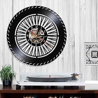 EPSMK Reloj Pared Vinilo Reloj de Pared con Ruedas de Rendimiento Reloj de Ruedas para Autos Antiguos Servicio de Autos Ventas Reparación de Garaje Cartel de Vinilo Reloj de Pared Decorativo