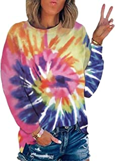 Miracle Women Casual Tie Dye Print Round Neck Long Sleeve Color Block Loose Pullover Sweatshirt T-Shirts