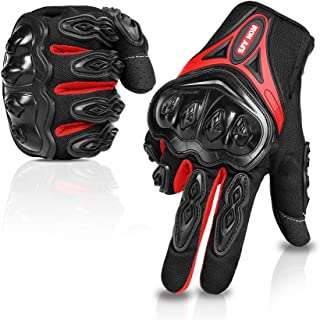 Motorcycle gloves Full finger durable for road racing bike summer spring Powersports support touch screen red-XL