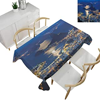 Warm Family Night Decorative Textured Fabric Tablecloth Aerial View of Mountain Sugar Loaf and Botafogo Rio de Janeiro 70