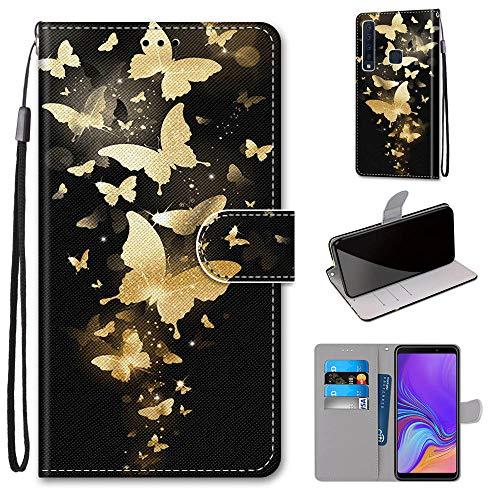 Miagon Flip PU Leder Schutzhülle für Samsung Galaxy A9 2018,Bunt Muster Hülle Brieftasche Case Cover Ständer mit Kartenfächer Trageschlaufe,Gold Schmetterling