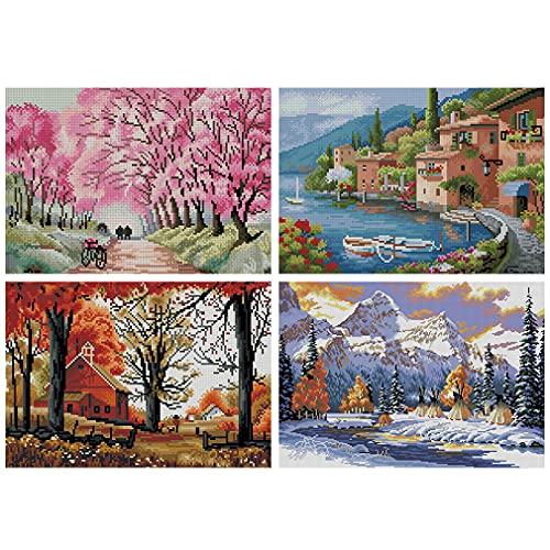 Cross Stitch Kits 4 Pack Stamped Full Range of Embroidery Starter Kits for...