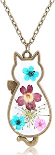 Natural Flower Cat Necklace Costume Jewelry Gift For Women Girl Kids