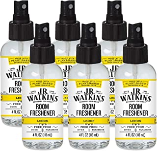 JR Watkins Room Air Freshener Spray, Lemon, 6 Pack, Natural Freshener for Home, Office, or Car, USA Made and Cruelty Free, 4 fl oz