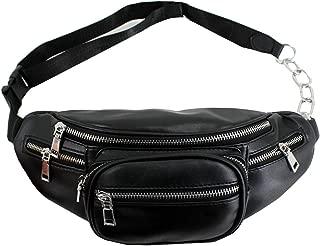 Mily Unisex Genuine Leather Sling Bag Casual Shoulder Bag Chain Chest Bag Outdoor Sport Crossbody Satchel Waist Pack