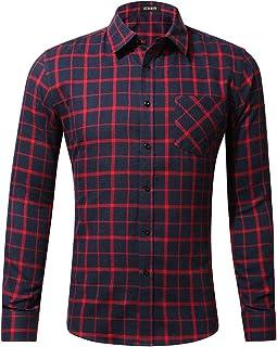 iCKER Men's Plaid Flannel Shirts Regular Fit Long Sleeve Button-Down Shirt 100% Cotton Casual Shirt