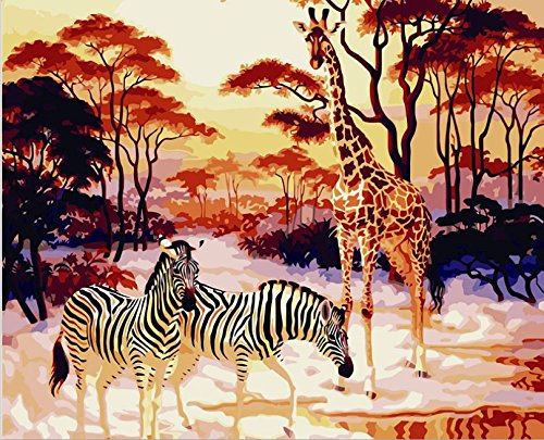 HOS DIY Animal Forest Oil Painting, Paint by Number Kits for Adults and Kids,Canvas Hand Paintworks 16X20 Inches Zebra Giraffe and Tree