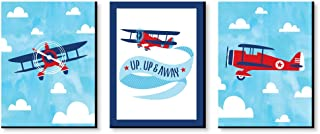 Big Dot of Happiness Taking Flight - Airplane - Vintage Plane Baby Boy Nursery Wall Art and Kids Room Decorations - Christmas Gift Ideas - 7.5 x 10 inches - Set of 3 Prints