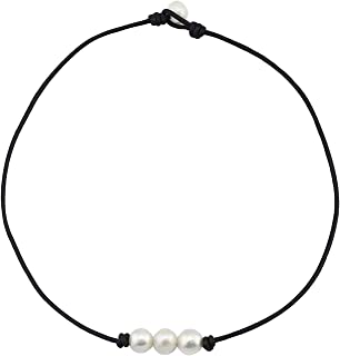 Freshwater Pearl Leather Rope Necklace for Women 3 Bead Necklace Handmade