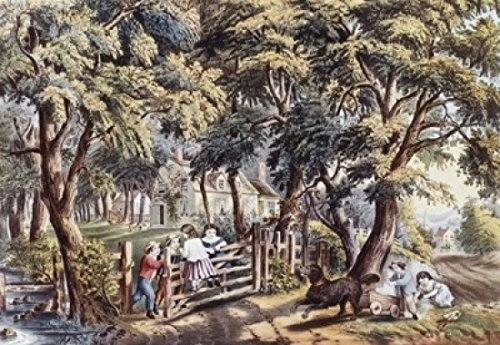 The Old Farm Gate Currier & Ives (1834-1907 American) Lithograph Poster Print (24 x 36)