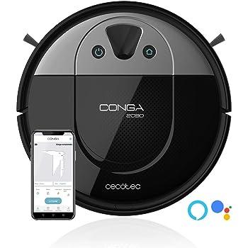 Cecotec Conga 2090 Vision. Robot Aspirador con tecnología iTech Camara 360, friega, aspira y Barre a la Vez,App con Mapa Interactivo, Limpieza puntual y de áreas,2700 Pa, Alexa & Google Assistant.: Cecotec: