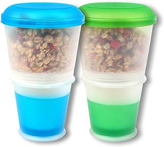 comprar comparacion Schramm® 2-pack to go Taza de Muesli to Go con compartimiento de enfriamiento integrado y cuchara Tazón de cereal Taza de ...