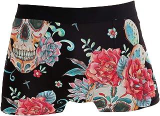 Men Boxer Briefs Polyester Underwear Men 2 Pack Boxer Briefs for Valentines Gift with Cartoon Fox Pattern