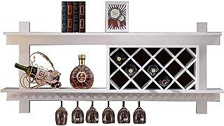 QDY Organiser Les casiers à vin muraux de Cuisine Support de Rangement pour Bouteilles de vin en Bois Massif  Outils à vi...
