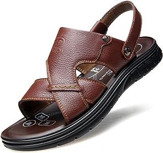 b9a8a2d062f Sandalias para hombres Tallas grandes Sandalias de cuero real Correa  trasera Mulas Zapatillas Piscina Zapatos Diapositivas
