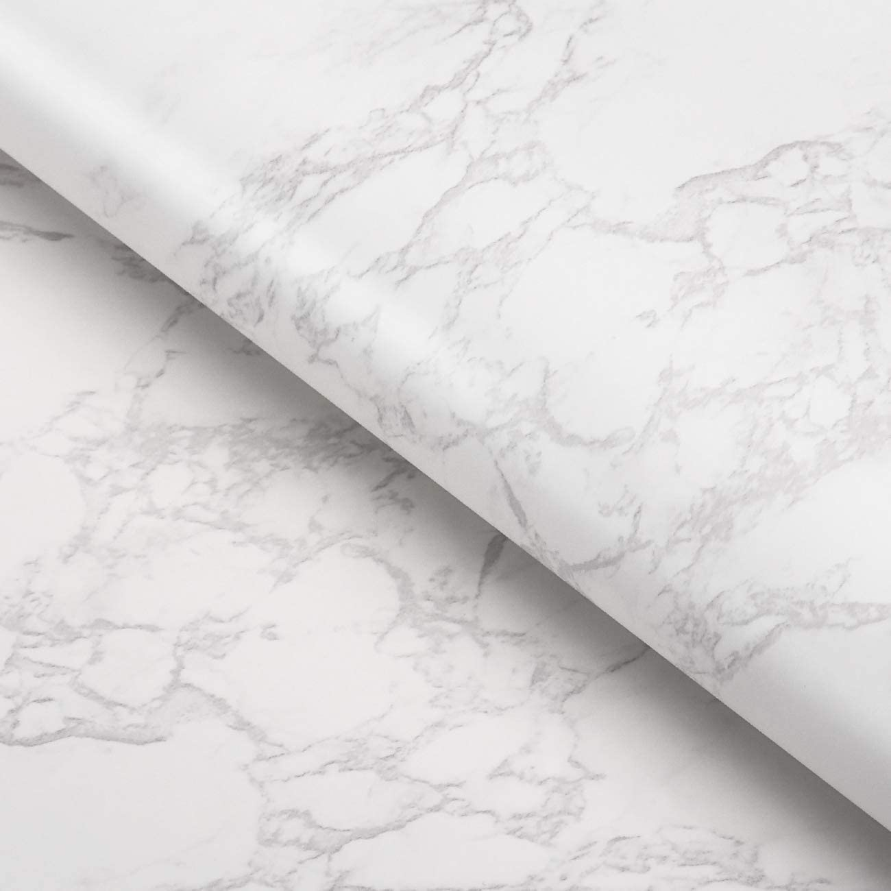 FunStick Matte White Grey Raleigh Mall Marble and Counte Online limited product Stick Wallpaper Peel